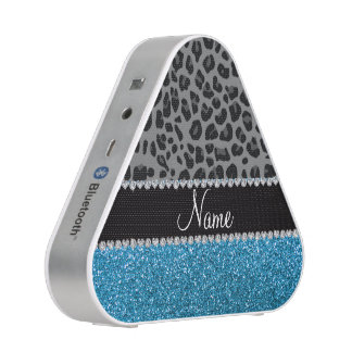 Personalized name grey leopard sky blue glitter bluetooth speaker