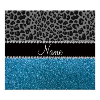Personalized name grey leopard sky blue glitter print