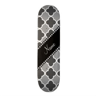 Personalized name grey quatrefoil pattern skate board