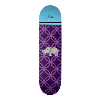 Personalized name grey rhino purple circles skate boards