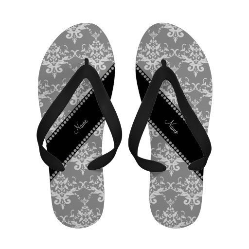 Personalized name grey white damask sandals