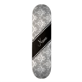 Personalized name grey white damask skateboard deck