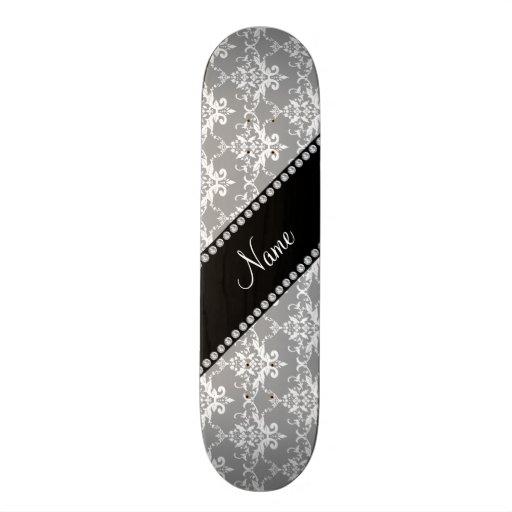 Personalized name grey white damask skateboard deck