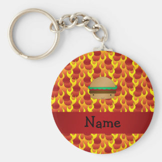 Personalized name hamburger flames basic round button key ring