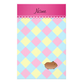 Personalized name hamster blue pink yellow diamond customized stationery