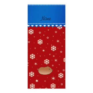 Personalized name hamster red stars snowflakes custom rack cards