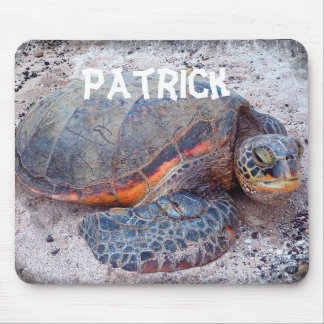 Personalized Name Hawaii Sea Turtle Close-up Photo Mouse Pad
