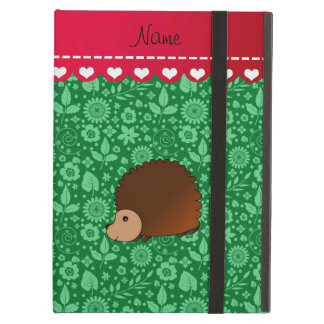 Personalized name hedgehog green flowers case for iPad air