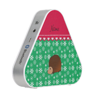 Personalized name hedgehog green snowflakes