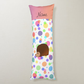 Personalized name hedgehog rainbow polkadots body pillow
