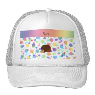 Personalized name hedgehog rainbow polkadots hats