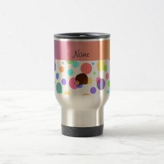 Personalized name hedgehog rainbow polkadots mugs