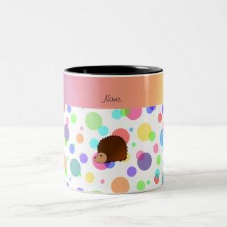 Personalized name hedgehog rainbow polkadots mug