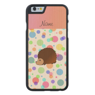 Personalized name hedgehog rainbow polkadots carved® maple iPhone 6 slim case
