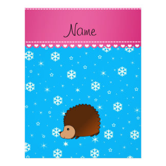 Personalized name hedgehog sky blue snowflakes personalized flyer