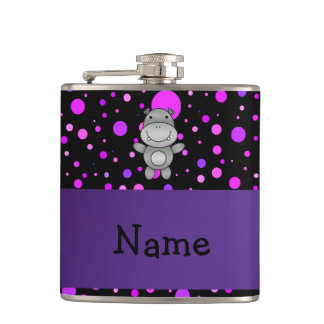 Personalized name hippo purple polka dots hip flasks