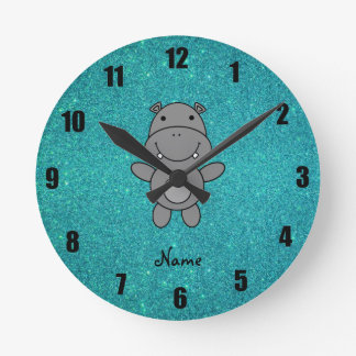 Personalized name hippo turquoise glitter round clock