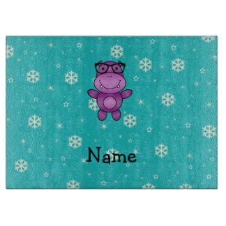 Personalized name hippo turquoise snowflakes cutting board