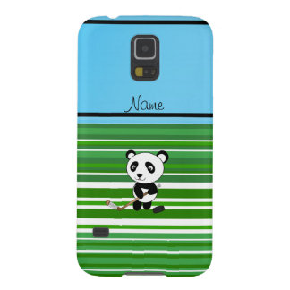 Personalized name hockey panda green stripes galaxy s5 cases