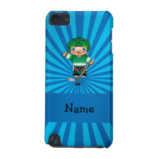 Personalized name hockey player blue sunburst iPod touch (5th generation) cover