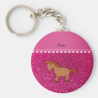 Personalized name horse neon hot pink glitter basic round button key ring
