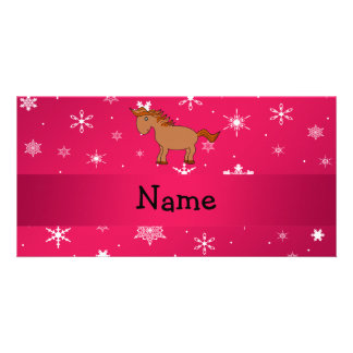 Personalized name horse pink snowflakes customised photo card