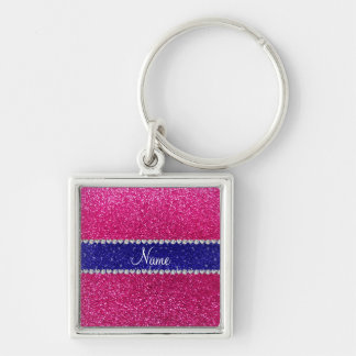Personalized name hot pink glitter blue stripe key chains