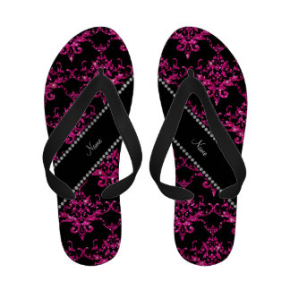 Personalized name hot pink glitter damask sandals