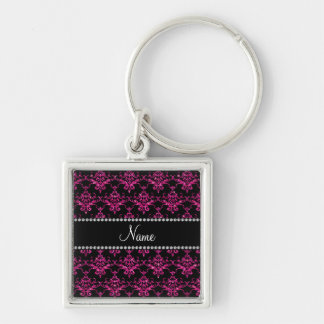 Personalized name hot pink glitter damask keychains