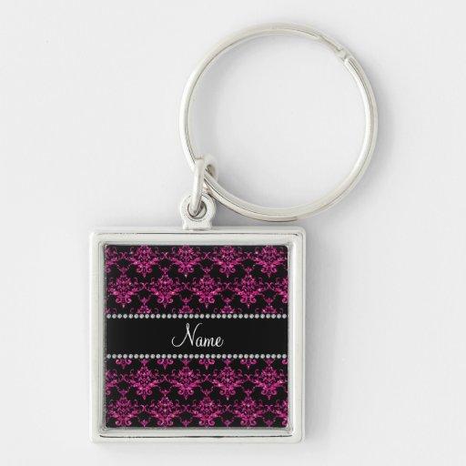 Personalized name hot pink glitter damask keychains