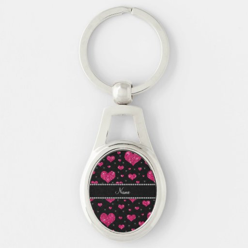 Personalized name hot pink glitter hearts keychain