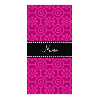 Personalized name hot pink retro flowers photo cards