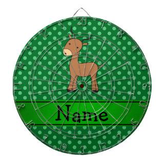 Personalized name impala green polka dots dartboards