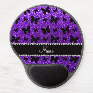 Personalized name indigo purple glitter butterfly gel mouse mats
