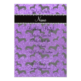 Personalized name indigo purple glitter dachshunds magnetic invitations