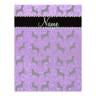 Personalized name indigo purple glitter dogs full color flyer