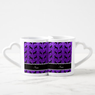 Personalized name indigo purple glitter dogs lovers mug set