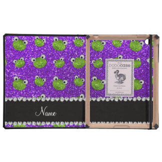Personalized name indigo purple glitter frogs iPad cover