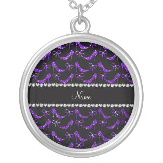 Personalized name indigo purple glitter high heels personalized necklace