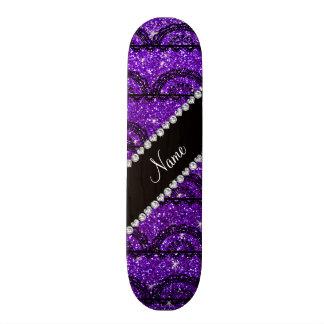 Personalized name indigo purple glitter lace skateboard decks