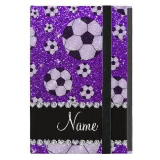 Personalized name indigo purple glitter soccer iPad mini case