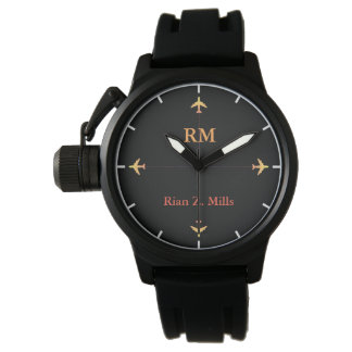 personalized name + initials airplanes aero style watch
