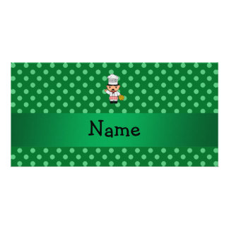 Personalized name italian chef green polka dots personalized photo card