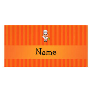 Personalized name italian chef orange stripes photo greeting card