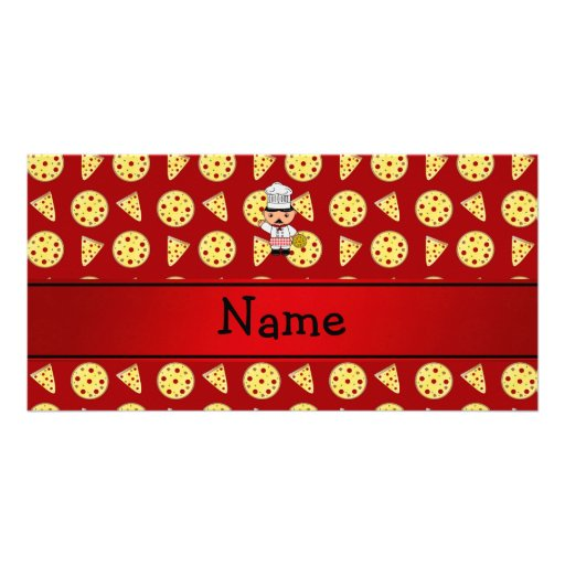 Personalized name italian chef red pizza pattern personalized photo card