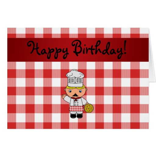 Personalized name italian chef red white checkers greeting cards