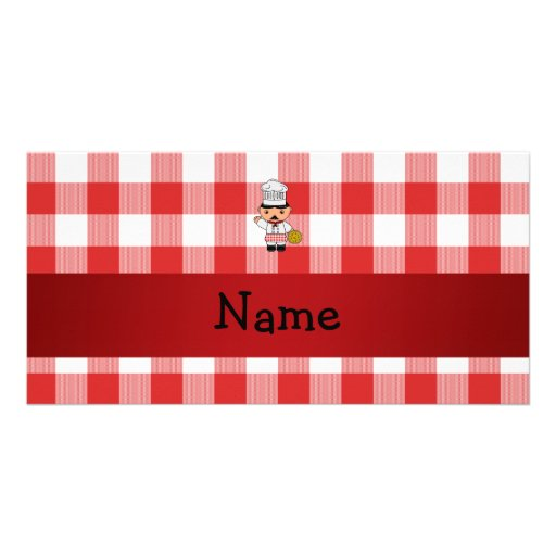 Personalized name italian chef red white checkers photo card template