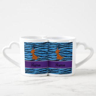 Personalized name kangaroo blue zebra stripes couple mugs