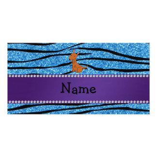 Personalized name kangaroo blue zebra stripes personalized photo card