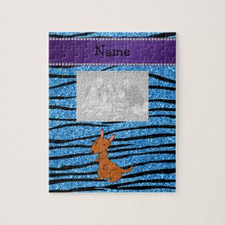 Personalized name kangaroo blue zebra stripes jigsaw puzzles